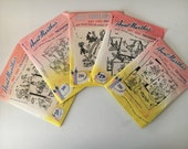 Set of 5 -Vintage Hot Iron Transfers by Aunt Martha's UNCUT- Embroidery, Needlepoint, Handpainting Patterns