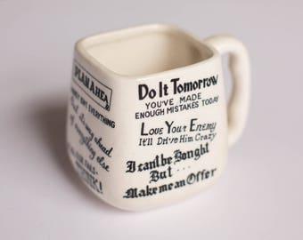 Vintage Coffee Mug Made in Japan, Unique Coffee Mug, Funny Coffee Mug, Funny Mug, Work Mug, Gag Gift, Typography, Headlines