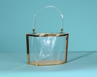 Vintage 1950s Majestic Lucite Purse - Clear Plastic - Gold Wedding Bridal Fashions