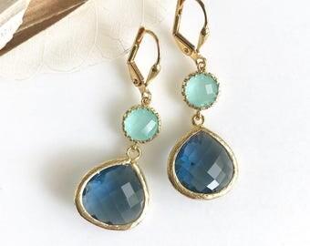 Sapphire Blue Teardrop and Aqua Dangle Earrings in Gold.  Fashion Dangle Earrings.  Drop Earrings. Wedding Jewelry. Gold Earrings.