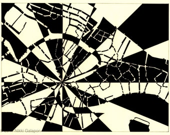 Venice, 8.5x11 print of original ink drawing black and white abstract modern map art Italy Europe