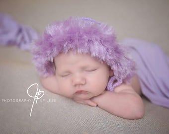 Newborn Bonnet, Lavender Eskimo Hat, Eskimo Bonnet, Newborn Girl Hat, Newborn Photo Prop, Warm Winter Hat, Lavender Crochet Bonnet, Parka