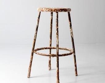 vintage industrial stool, painter's workshop stool, tall metal stool