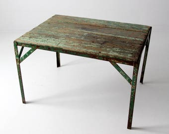 vintage industrial table, green work table