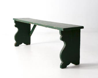 antique wood bench, painted green bench