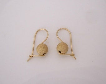 3D Euro-BALL EUROBALL yellow gold filled earrings with kidney earwires