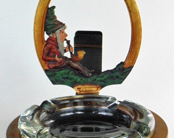 One-Of-A-Kind Pipe Smoking Elf With Pipe Cigar Glass Ashtray & Lighter Cigarette Holder Very Heavy Cast Metal Engraved E G Leipheimer