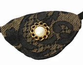 Gold Eye Patch Golden Pearl Gothic Victorian Steampunk Pirate Fashion Cosplay