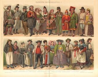 1893 European National Costumes, Folk Dresses or Traditional Garments I. Original Antique Chromolithograph