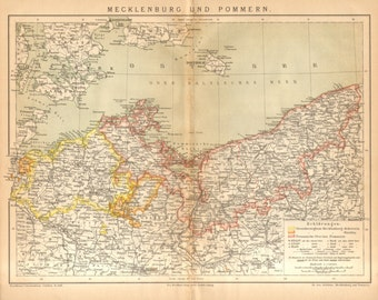 1885 Original Antique Map of Two Historical Regions in Northern Germany, Mecklenburg  and Pomerania