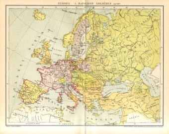 1893 Antique Map Showing Europe by the Time of Napoleon I. (around 1810)