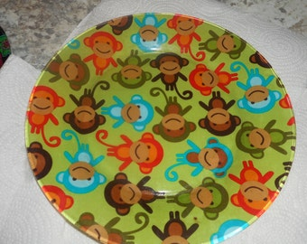 fabric backed plates, 10.5 inch dinner size plate, serving plate, monkey, monkey plate, display plate, dinner plate