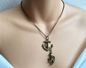 SALE Antique Bronze Anchor And Octopus Necklace,Minimalist Necklace,Sea Inspired Jewelry,Octopus Necklace,Nautical Necklace,Nautical Jewelry