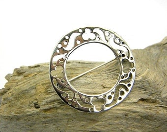 Large silver brooch sterling silver pin modernist circle cut out floral pattern simple shawl pin, gift for her minimal brooch