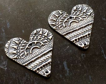 PMC Hearts - Handmade Fine Silver Earring Components - Textured Earring Charms - PMC Jewelry Supplies - Artisan Charms - Organic Components