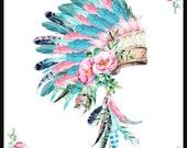 Baby Blanket, personalized baby blanket, embroidery, Crib blanket, woodland,indian, aztex, headdress, feathers, boho, pink, aqua, bohemian