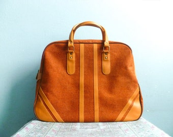 Vintage Travel Bag Handbag / Overnight / Weekender / Sports / Orange / Retro Hipster / 70s 80s / Spacious Large Big