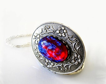 Dragons Breath Opal Silver Photo Locket Fire Opal Victorian Locket Wiccan Jewelry Gothic Keepsake Locket Heirloom Locket Statement Necklace