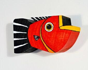 Red Fish Decor on Reclaimed Barnwood Original Folk Art Handmade in Vermont One of A Kind