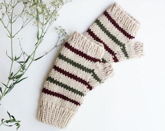 CHRISTMAS red and green Fingerless GLOVES || Handknit || Striped Mittens || Alpaca Blend