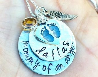 Mommy Of An Angel Necklace,Memorial Necklace, Baby Memorial Gift, Sympathy Gift, Loss Of Loved One Gift, natashaaloha
