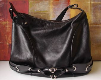 Large FRANCSECO BIASIA Handbag Black Leather Shoulder Handbag