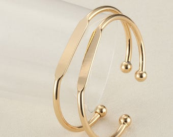Bulksale-50 pcs gold plated cuff bangle with Blank plate for Stamping initial-T0692jin-gold plating over brass