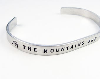Mountain Bracelet - Adjustable Metal Cuff With Mountains Are Calling Quote for Outdoorsy Types Who Love Nature, Camping, Skiing, Hiking