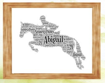 Horse Personalised Word Art Print, Perfect Birthday Present, Gift Horse Show Prize
