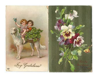 Antique Girls on Dog Postcard and Pansies Printed in Germany postcard
