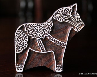 Wood Block, Tjaps, Carved wood stamp, Indian wood stamps, Pottery Stamp, Soap Stamp- Dala Horse