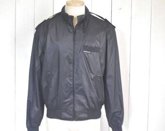 Vintage Members Only Jacket Black 1980s Windbreaker Bomber Jacket Size 42 Large