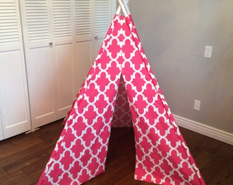 Pink and White, Geometric, Striped, Stripe, Play Teepee, Tee Pee, Tent (poles included)