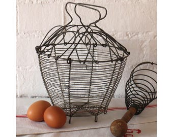 Antique French Wire Egg Basket - Wirework basket - Vintage Metal Basket - Vintage Kitchenalia