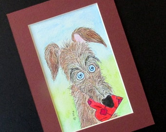 "Lurcher original watercolour hairy dog 5"" x 7"" mounted silly old (grey)hound 25% donation to charity"