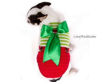 Overalls Cute Christmas Dog Clothes XXS, Handmade Knitted with Big Bow Chihuahua Clothes, Yorkie Clothes DF78 by Myknitt - Free Shipping