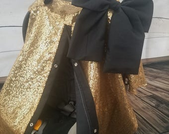 Carseat Canopy Elegant Gold Sequin Shimmer Cover with Large bow