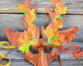 Leather Autumn Stag Mask Made to Order Great for Halloween Burning Man Masquerade Costume LARP Cosplay Mardi Gras Festival