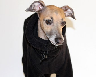 ONE Only - Italian Greyhound Large standard EXTRA* (larger chest*) Black Jammies with  Snood measurements essential  see item details