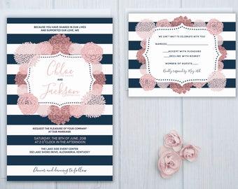 Pink Rose Wedding Invitations | Bold Navy Stripe Wedding Invitation Set | Boho Wedding Stationery | Modern Wedding Invite Suite