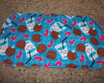 Milk and Cookies Burp Cloth with Minky Pink Hearts