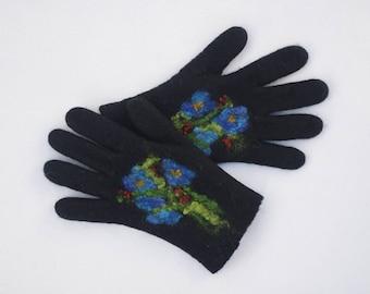 Felted Gloves Merino wool Black Blue Floral