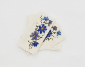 Felted Fingerless Gloves Fingerless Mittens Arm warmers Wristlets Merino Wool White Blue flowers