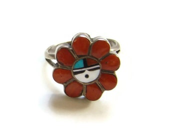 Zuni Sun Face Inlay Ring Red Coral Turquoise Jet MOP Sterling Silver Size 7 Native American