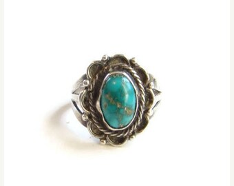 Vintage Turquoise Native American Ring Fred Harvey Era Small Size 4.75