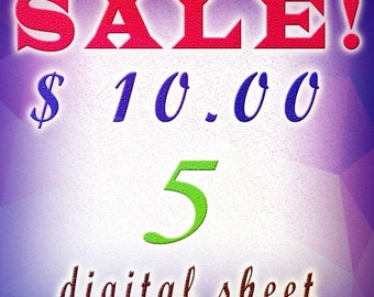 5 Digital Collage Sheets for the price - 10.00 dollars