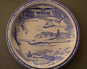 "Vernon Kilns ""DOUGLAS First Around the World""  plate blue ca: 1940s"