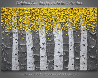 "Large 24""x36""x1.5"" Original Birch Tree Painting - Yellow & Gray - Palette Knife Impasto Textured - Gallery Stretched Canvas  - FREE SHIPPING"