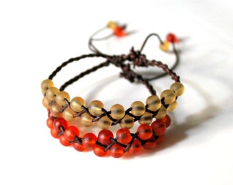 2 Braided Leather Bracelet with Orange Red and Amber Yellow Seaglass Beads, Friendship Bracelet, Boho, Stackable