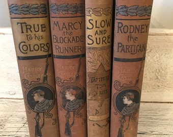 Vintage  Book Set  from 1872,1891,1890,1889 - Rustic Books for Decor or Collecting - Instant Library